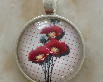 Glass pendent Coquelicots
