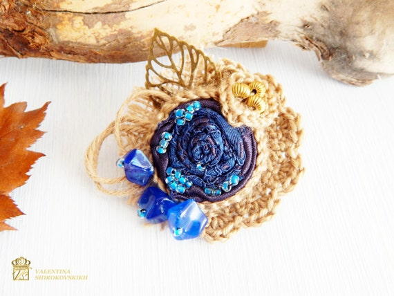 Fabric Brooch Flower Corsage Pin Brooch, Handmade, Lagenlook, Shawl Pin, Crochet Flower Pin