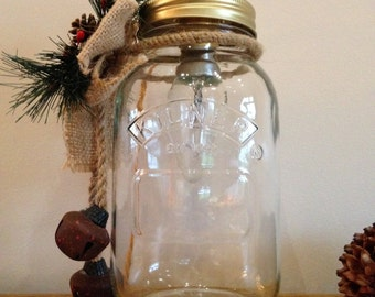 Christmas mason jar table lamp kilner