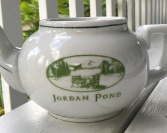 vintage Jordan Pond teapot, Acadia National Park, Maine, ceramic teapot, white and green, popovers