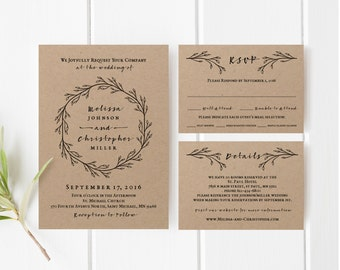 Fall Burgundy Floral Wedding Invitations Template Invitations
