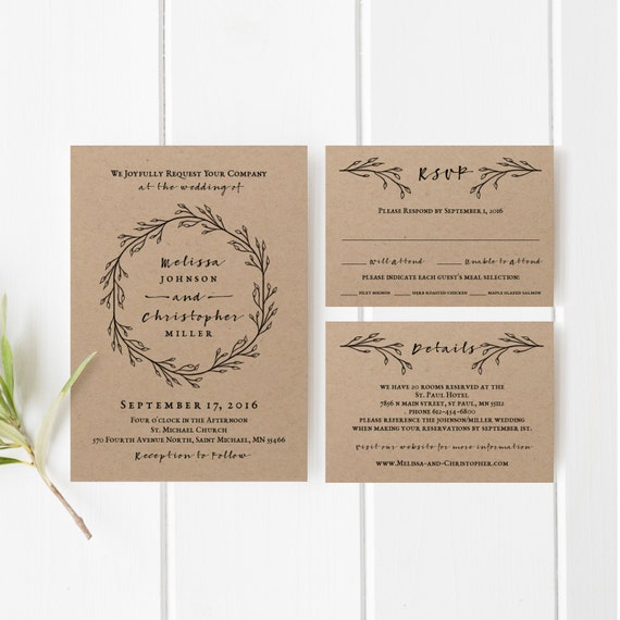 Printable Wedding Invitation Template Set Kraft Wedding