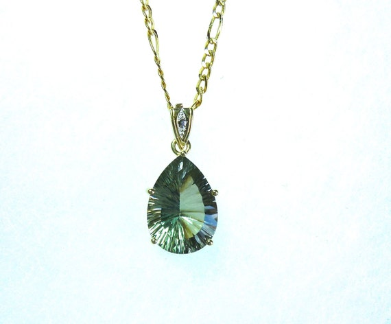 GREEN AMETHYST ~ Pear Shape Fancy Cut 12K Stone ~ 18 Inch 14K Yellow Gold Figaro Chain ~ Amethyst Pendant and Chain