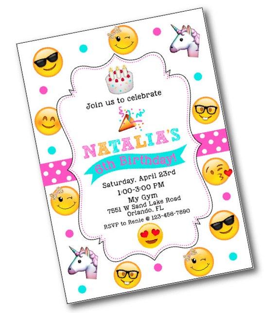 Glitter Bow Emoji Birthday Party Invitation Emoji birthday