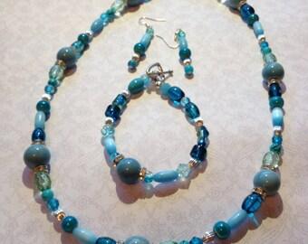 Necklace Set Sky Blue and Aquamarine