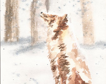 Fox in Snow - Original Watercolor - 8.5 x 11.5
