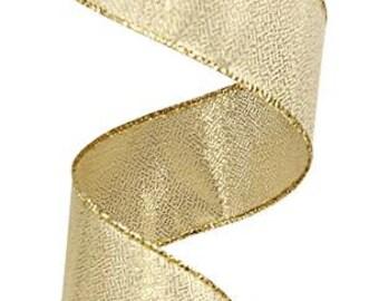 RIBBON - Wired Ribbon - Metallic Ribbon - Christmas Ribbon - Gold Ribbon - Wreath - Floral - RG0114208