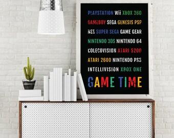 Arcade Games Print - Video Game - Subway Poster, Boyfriend Gift, Husband Gift, Wall Art, Nintendo, Atari Decor, Xbox Gifts, Sega, SNES, N64