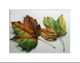 Fall leaves Watercolor Photorealism