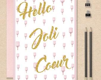 "Postcard ""hello pretty heart"" gold and pastel,"