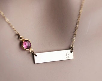 gold bar necklace, personalized gold bar necklace, gold bar initial necklace, gold bar birthstone necklace, gold bar birthstone and initial
