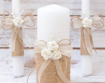 Rustic Wedding Candles Rustic Unity Candle Set Wedding Unity Candle Wedding Unity ideas Wedding Candles with Burlap Linen Roses lace