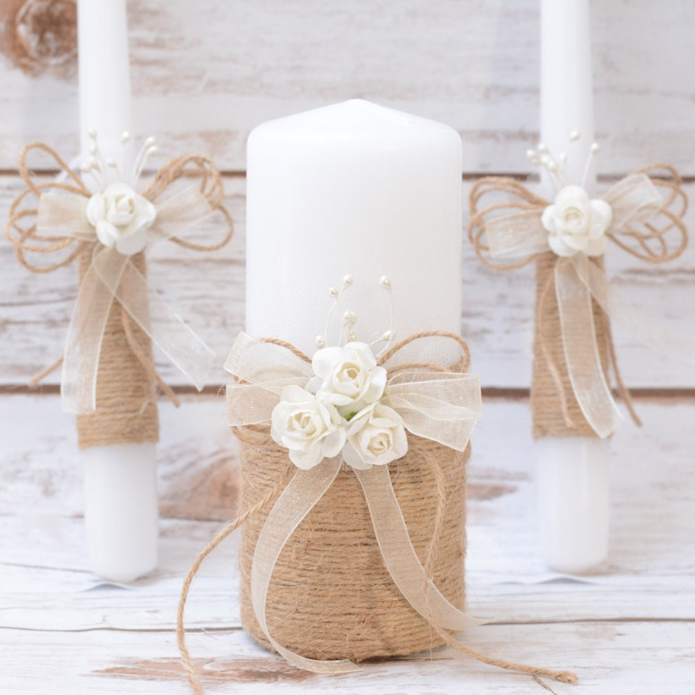 Rustic wedding candles rustic unity candle set wedding unity - Decoracion unas para boda ...