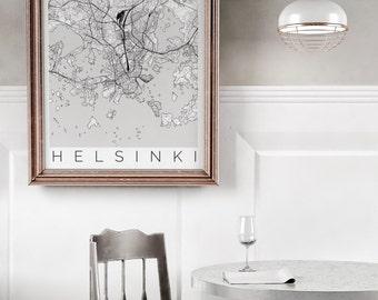Map of Helsinki, Finland - Helsinki Print - Map ART - Finland Poster - Office Decor - Scandinavian Art -Helsinki Printable Map -Travel Decor