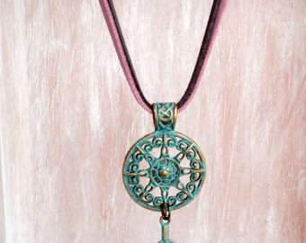SALE-Free Shipping Tribal neckglace-ethnic necklace-feather and mandala painted in turquoise-Boho style-suede pink and grey