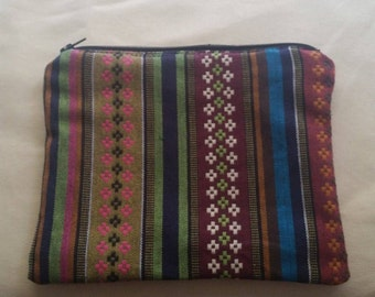 Boho Tribal Stripe Multi color zipper pouch with rainbow lining and black zipper, boho makeup pouch, boho pouch, rainbow lining