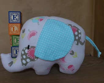 Stuffed Elephant Toy in Pink & Teal Flannel