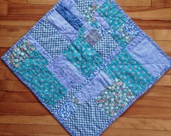Large Improv Patchwork Doll Quilt: Blue