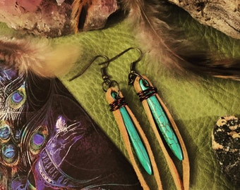 Earrings - Tribal/Native American Stone - Wire, Suede, Reconstituted turquoise colored stone spikes