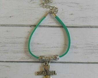 Basketball Bracelet// Team Colors// Basketball Coach// Basketball Gift// Custom Sports Bracelet for Girls// Choose Color & Sports Charm