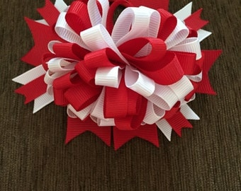 Red and White 4.5 Inch Pony Tail Holder