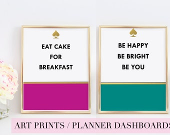 KATE SPADE inspired Art Prints| Eat Cake For Breakfast |  | Be Happy Be Bright Be You | Planner Dashboard | Typography | Wall Art | Quote