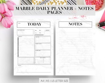 Marble Daily Planner Pages and Notes | Refill Insert | a4 a5 US letter | Day organiser | Notes | Schedule | To Do List | Printable Diary