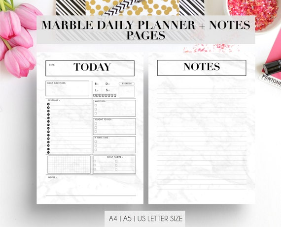 Marble Daily Planner Pages and Notes Refill Insert a4 a5