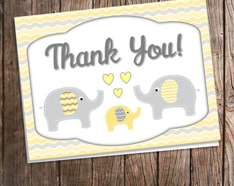 Elephant Thank You Cards - Yellow and Gray Chevron - Gender Neutral Baby Shower Thank Yous & Envelopes - Printed Thank You Card Grey