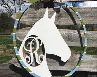 26 in Kentucky Derby horse wreath- Monogram