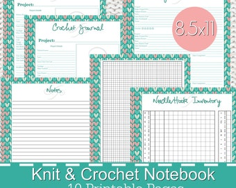 Knitting Crochet Planner Notebook Journal Printables PDF - Stitches Theme