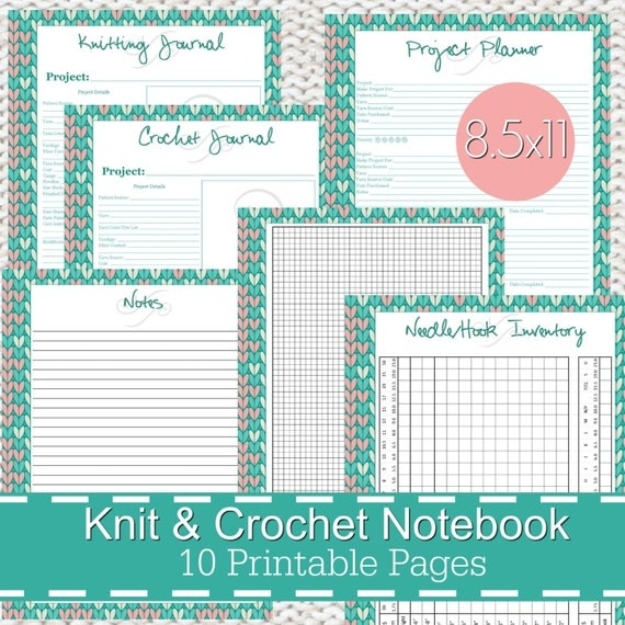 Crochet Journal : Knitting Crochet Planner Notebook Journal Printables PDF - Stitches ...