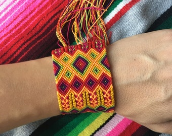 Mexican Colorful Friendship Thick Cuff Bracelet