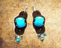 Soutache earrings imitation turquoise, jasper ocean, brown, light blue colors. Long Soutache earrings.