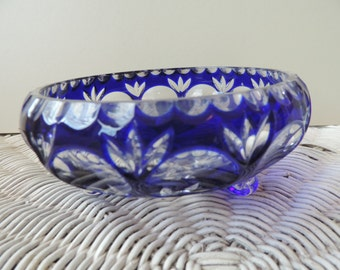 Cobalt Blue Crystal Candy Dish Made in Germany