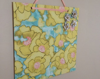 fabric covered magnet board 16x16 flower print