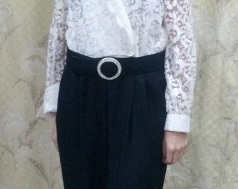 1980s Black and White Lace Jumpsuit/Size Large Jumpsuit/J. R. Nites
