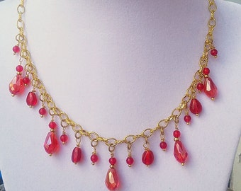 Red glass bead dangle necklace