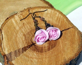 Flower Earrings Pink Roses handmade polymer clay / Weddings Pink Dangle Earrings Bridesmaid Gift Earrings Pink Wedding Jewelry Earrings