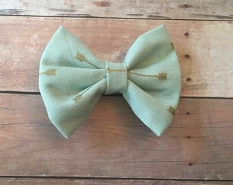 mint bow with gold arrows headband or alligator clip
