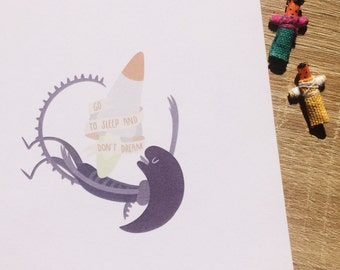 Alien A5 art print - Go to sleep and don't dream - worldwide shipping - wall art