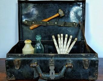 Vintage Black Metal Toolbox/Decor Piece