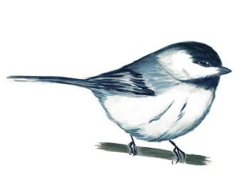 blue watercolor bird painting, chickadee watercolor bird art print chickadee painting living room decor monochrome painting nursery wall art