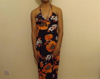 1970s st michael floral orange maxi dress hippie boho small 8 10