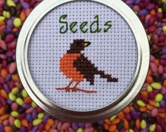 Bird Mason Jar, Seed Storage, Mason Jar Decor, Mason Jar Lid, Gift for Foodies, Gift for Her, Kitchen Decor, Woodland Decor, Cross Stitch