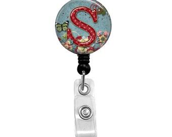 Name Badge Holder, Retractable Badge Reel, RN Badge, Personalized Name Badge, Nurse Badge Reel, ID Badg Reel, Flowers & Butterfly  201B