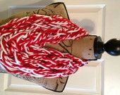 Red and White Fan Wrap (Infinity or Fringe Scarf) - Detroit Red Wings, Liverpool FC, Temple Owls, St. Louis Cardinals, Boston Red Sox