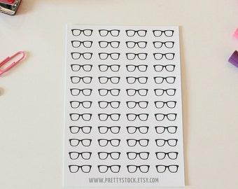 48 Black Glasses Stickers, Black Nerd Glasses Stickers, Black Glasses Planner Stickers, Glasses Stickers