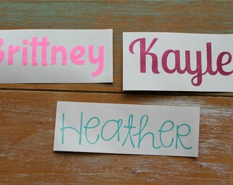 Name Decal - Glitter Name Decal - Glitter Decal - Name Sticker - Yeti Decal - RTIC decal - Vinyl decal - Name monogram - Cup decal