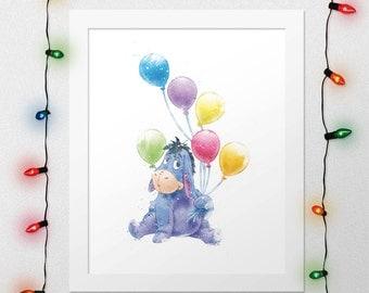 DISNEY EEYORE, Eeyore Print, Winnie The Pooh, Eeyore Disney, Eeyore Watercolor, Disney Nursery, Winnie Eeyore Print, Wall Art, Digital Print